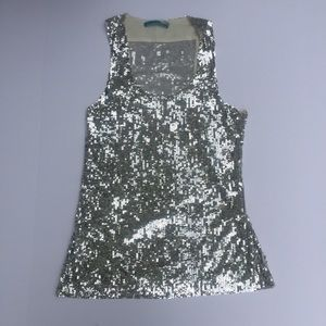 Alice + Olivia Silver Sequined Tank TOP